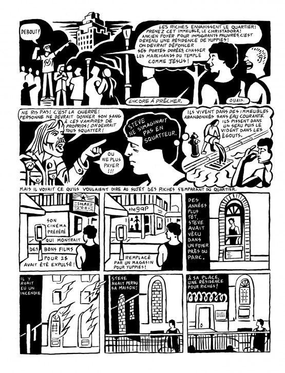 Quartier en guerre : New York années 1980  par Seth Tobocman Ce qui frappe au premier abord dans ce livre cest la puissance des images de Seth Tobocman. Lépaisseur de son trait et sa dynamique renvoient aux récits muets de lentre-guerre de Frans Masereel (La Passion dun homme Le Soleil) de Lyn Ward (Le Pèlerinage sauvage) ou Giacomo Patri (Col blanc). Ces œuvres par le biais de gravures saisissantes se passent des textes pour parler des luttes ouvrières du racisme des injustices sociales de…