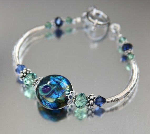 blue peacock lampwork bracelet