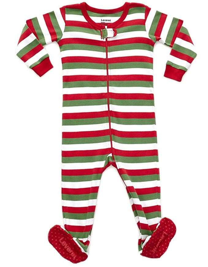 Leveret Kids Red White   Green Baby Boys Girls Footed Pajamas Sleeper  Christmas Pjs 100% 58a5450cb