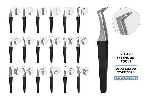 Illustrator Herramientas Eyelash Extension Tools. Big Set of tweezers isolated on white background. Diffe...