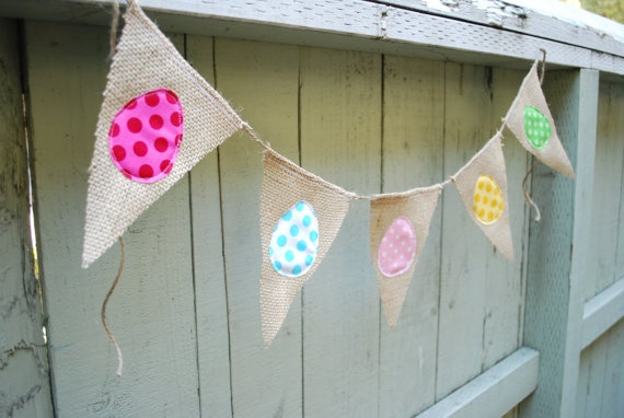 "Polka Dot Easter Burlap Banner    you know, if the bunting is going to be against a wall or something, you could sew some that are ""reversible""  One side Christmasy, the other side any occasion colors, etc."