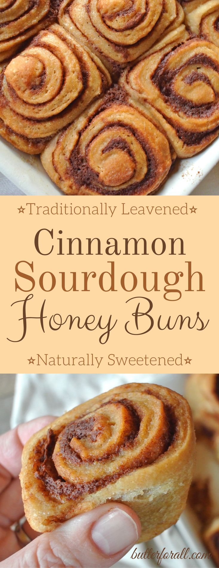 These Cinnamon Sourdough Honey Buns are traditionally leavened and naturally sweetened. Made with real food ingredients these cinnamon buns are a nourishing, wholesome treat you can feel good about sharing. Sourdough Honey Buns are great for everyday or made extra special for the Holidays. Visit the Butter For All blog to get this recipe.