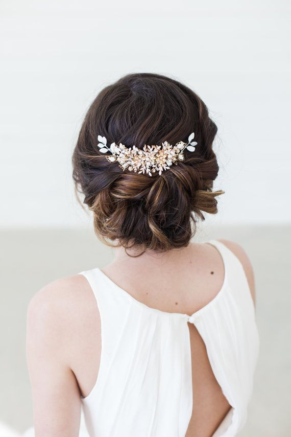 Gold Wedding Headpiece Wedding Hair Vine Crystal by GildedShadows