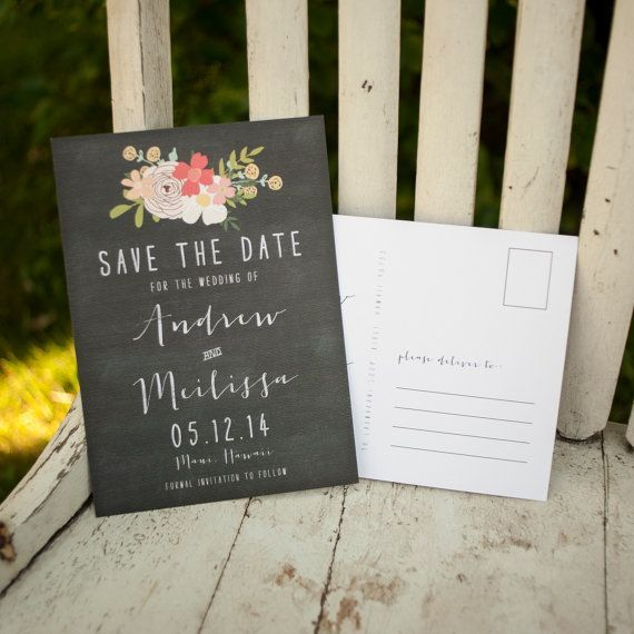 Adorable chalkboard save the date card that doubles as a postcard.