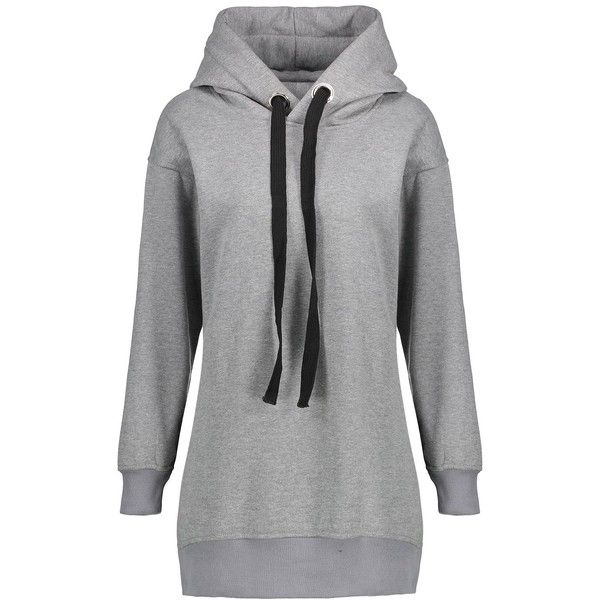 Gray 4xl Plus Size Zipper Slit Fleece Lined Hoodie ($19) ❤ liked on Polyvore f... 7