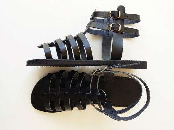 Black Leather Gladiator Sandals  Women Leather by Leatherhood
