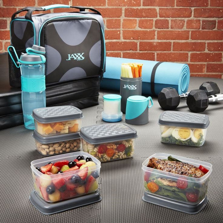 Jaxx FitPak Power Meal Prep Bag with Portion Control Container Set (Teal)