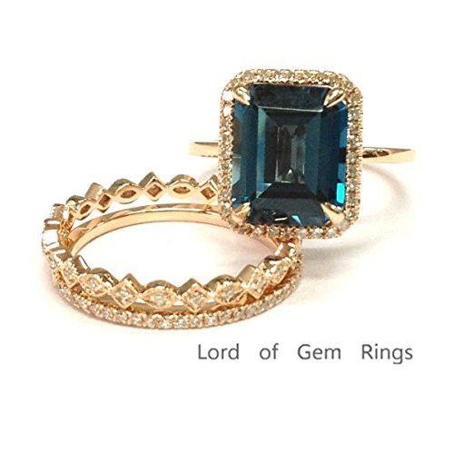 $998 Emerald Cut London Blue Topaz Engagement Ring Trio Sets Pave Diamond Wedding 14K Rose Gold,8x10mm