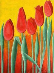 """""""TULIPS"""" 90x120cm. Acrylic on canvas. R. Mientus"""