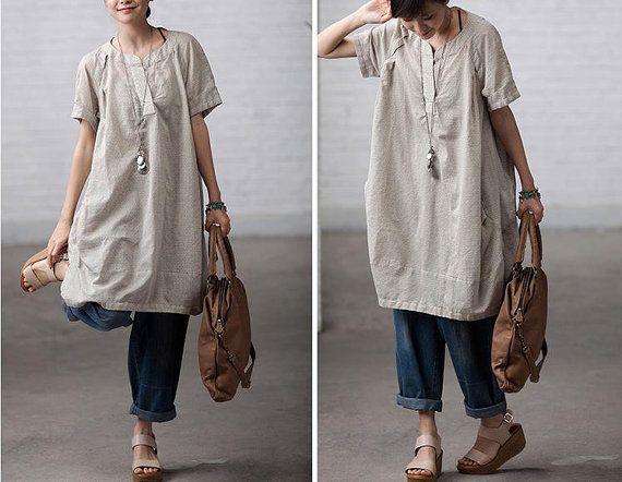 Etsy clothingshow Rice loose cotton  Shirt  top / Cotton dress  / Linen Women Blouse