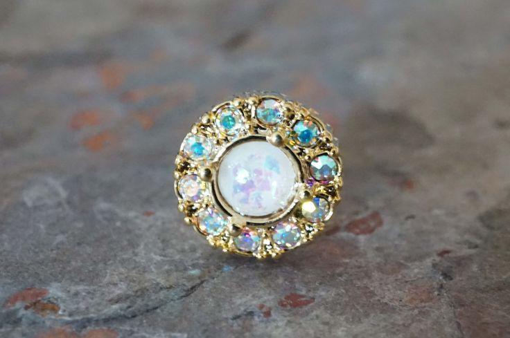 Opal Gold Cartilage Earring Gold Tragus Earring