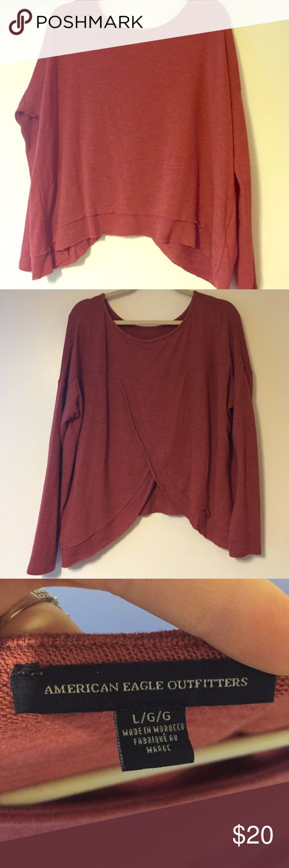 """Tulip back sweater NWOT. Worn once. Too small for me in perfect condition. The back is """"tulip cut"""" meaning it comes open some- very cute. Burnt red/rust color. American Eagle Outfitters Tops"""