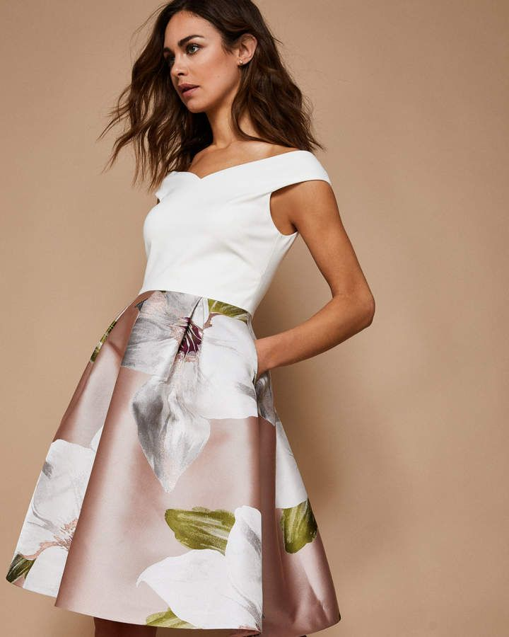 Ted Baker Chatsworth Jacquard Offshoulder Dress Wedding Guest Dresses Uk Wedding Attire Guest Wedding Guest Outfit