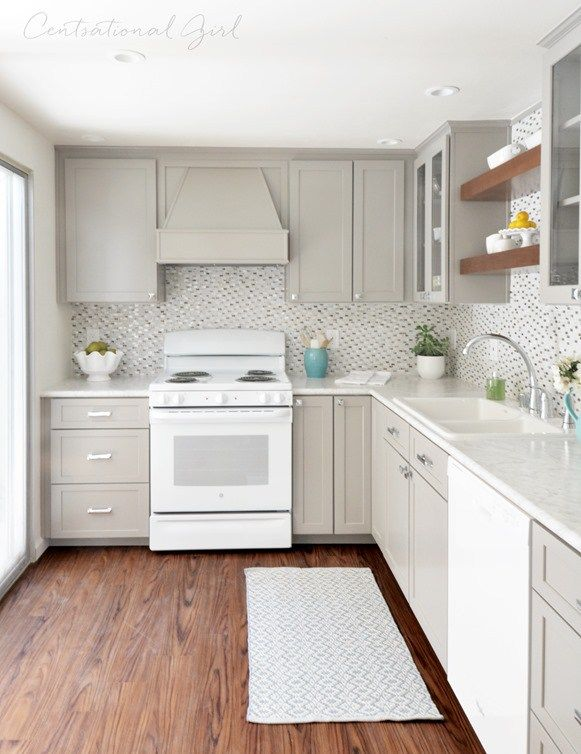 Gray Cabinet Kitchen Remodel · White Appliance ...