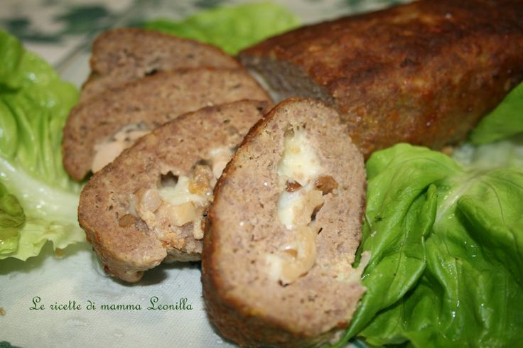 POLPETTONE RIPIENO AI FUNGHI E MOZZARELLA -ricetta di carne al forno