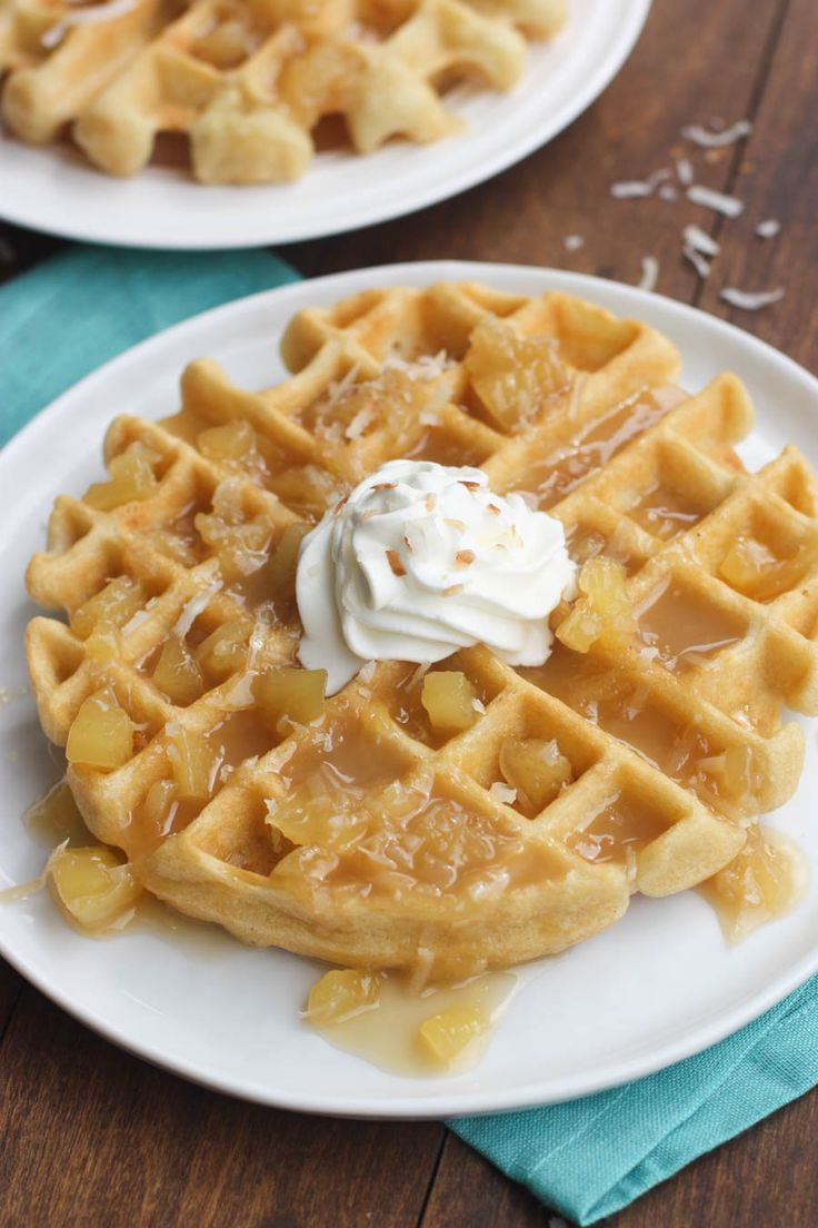Light and fluffy Coconut Cream Waffles with Pineapple Syrup| Tastes Better From Scratch