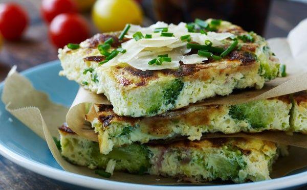 Frittata med broccoli og skinke