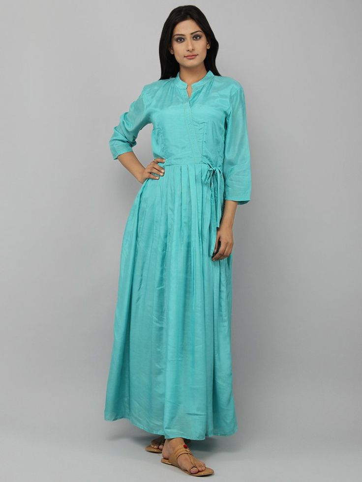 Turquoise Cotton Silk Pleated Maxi Dress
