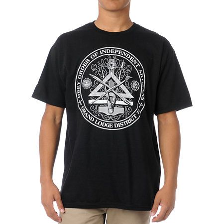 """Stay loyal to the ones who make it all possible in the Obey Independent Artists tee shirt for guys in the black colorway. The Independent Artists standard fit tee shirt features a comfy yet durable cotton construction and a custom """"Obey Order of Independent Artists Grand Lodge District 74"""" front graphic that is sure to intrigue."""