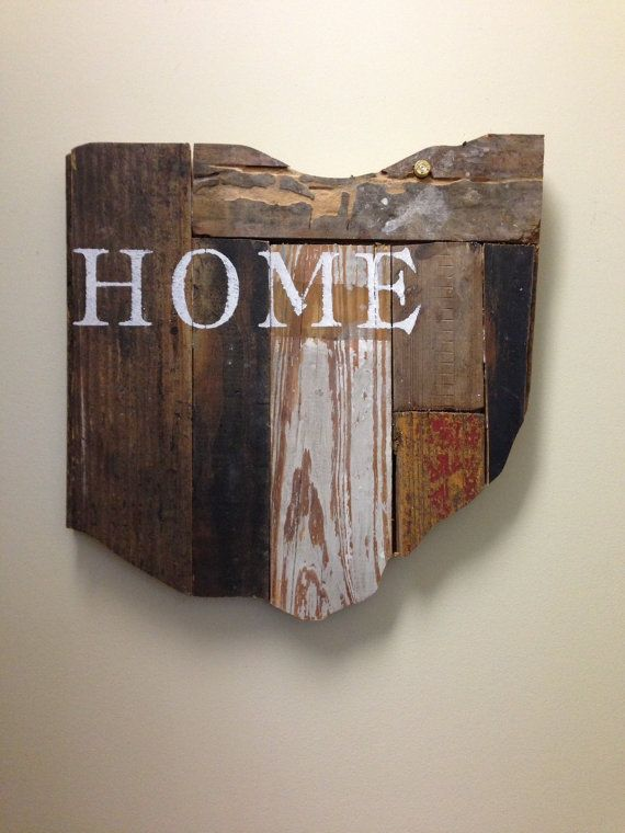 Customizable Wooden State Sign - Hand Painted on Reclaimed Wood - Country Chic Decor - Cleveland, OH on Etsy, $48.00