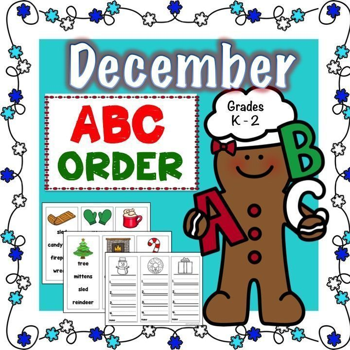 24 December words to easily put in alphabetical order! There are 3 cards per page with 4 words on each card. Students pick a card, alphabetize words and record their answers on a matching black and white answer sheet. Picture word cards can be cut apart,