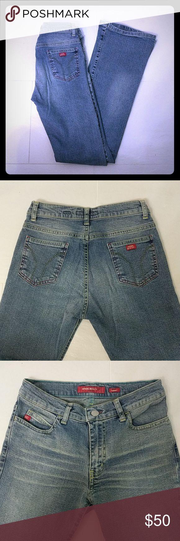 Faded Blue Denim Miss Sixty Jeans Boot cut jeans by Miss Sixty. Faded blue look with working pockets. Miss Sixty Jeans Boot Cut