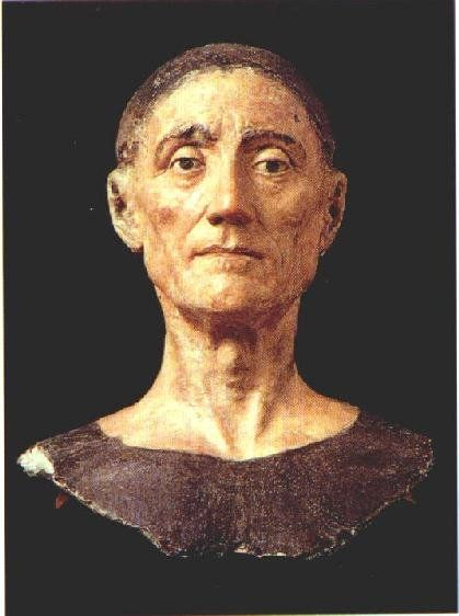 This is the death mask of England's King Henry VII (the father of King Henry VIII), who was the first Tudor monarch and reigned from 1485 to 1509. It is said to be the finest death mask in existence. It's also unusual in that his eyes are open. The British Prime Minister, David Cameron, is a direct descendant.