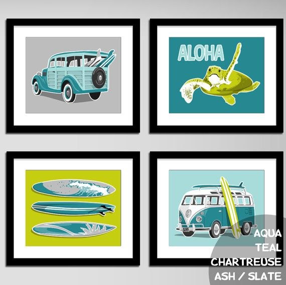 childrens wall art surfer boy beach art prints by PaperLlamas