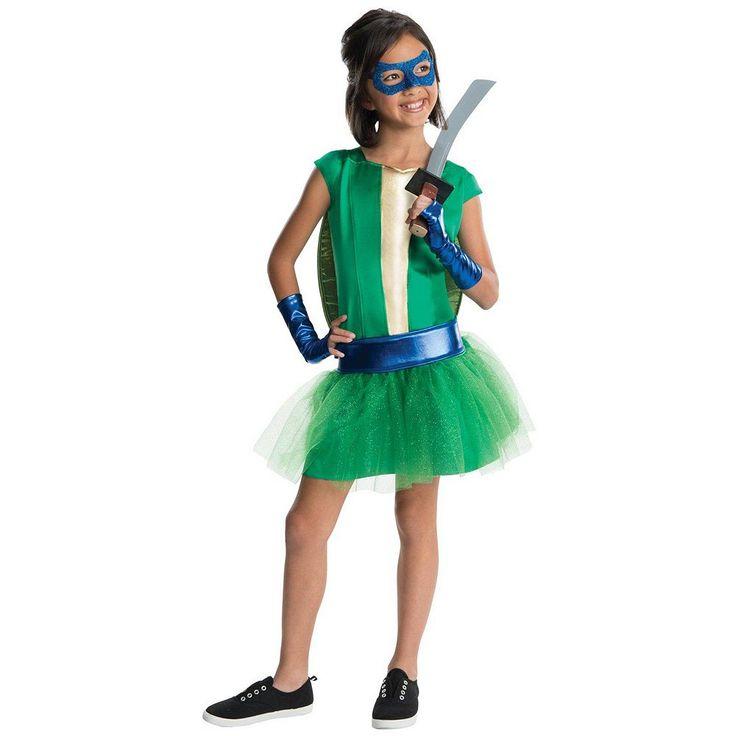Teenage Mutant Ninja Turtles Deluxe Leonardo Girl Tutu Costume - Kids, Size: 12-14, Green