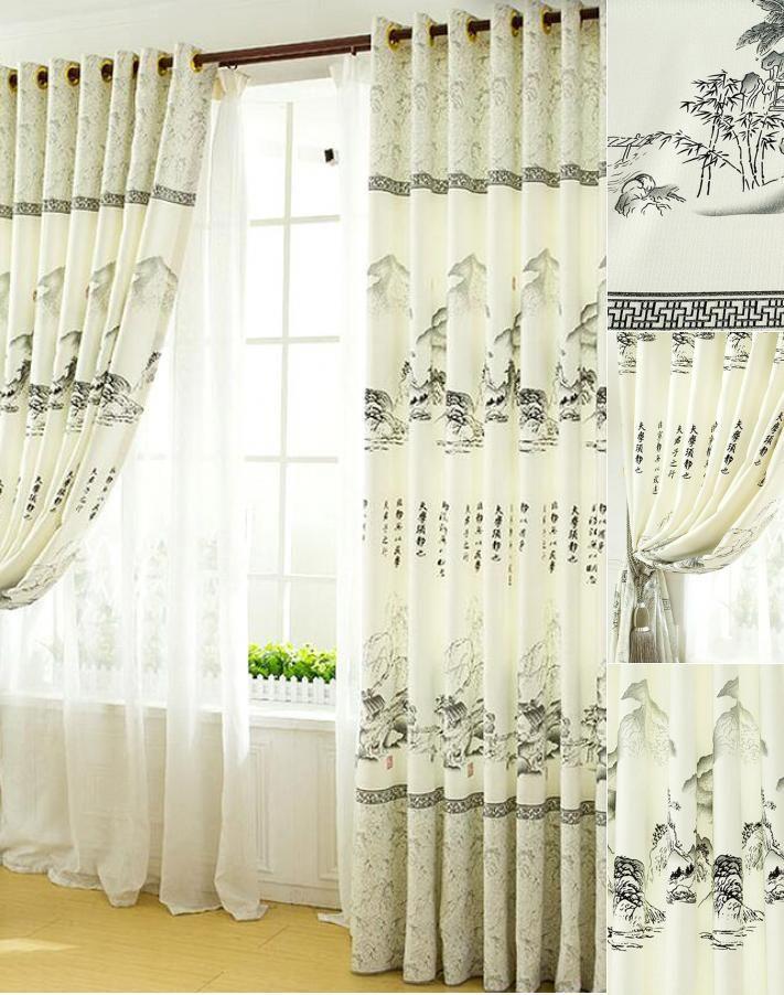 Customize High Quality Light Grey Asian Curtains