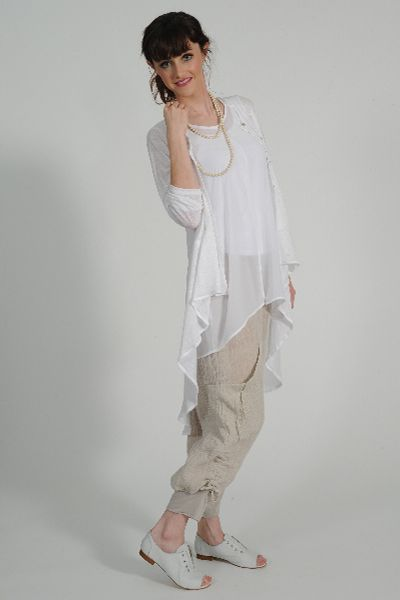 Umi linen knit cardy, Shatsu tunic, Tosca linen pant, glass bead necklace, Primo leather shoe