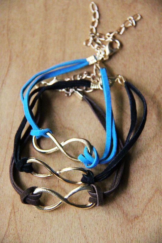 Infinity Charm Wrap Bracelet Blue Brown or Black