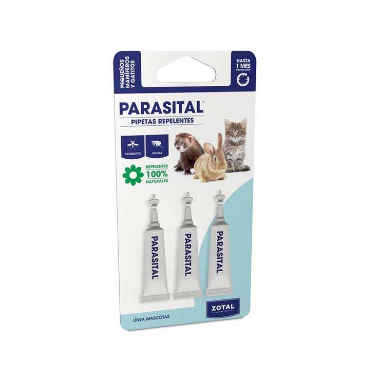 A base de activos naturales, las pipetas antiparásitos  PARASITAL®  para gatitos y pequeños mamíferos repelen eficazmente las pulgas, las garrapatas y los mosquitos vectores en enfermedades tales como la mixomatosis reduciendo la cantidad de picaduras.