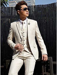 Tuxedos Tailored Fit Slim Notch Two-Button Cotton/Polyester Patterns 3 Pieces Off-White