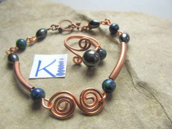 Magnetic Hematite Copper Azurite Bracelet  by KiCrystalCreations