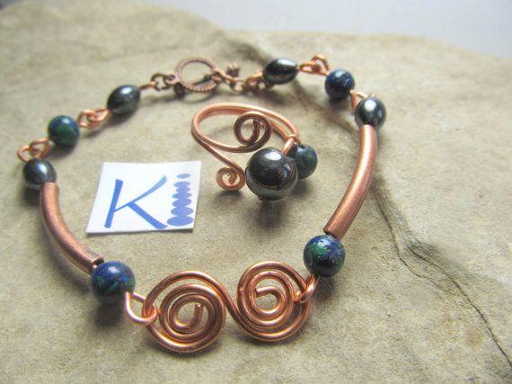 Magnetic Hematite Copper Azurite Bracelet  Pain relief