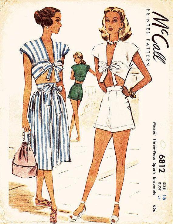 1940s summer beach resort wear skirt cropped top tie bow shorts playsuit white blue grey stripe green McCalls 6812