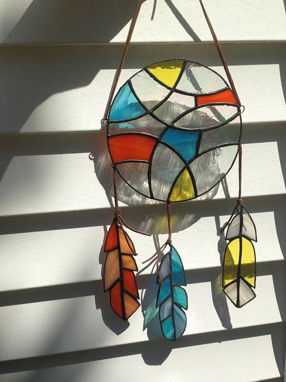 ~Customizable Stained Glass Dreamcatcher~ Choose 3 main colors for your dreamcatcher and include them in the buyers note at check out. These 3 colors will make up the circular part of the dream catcher. Each feather will also contain one main color as well as a second color to