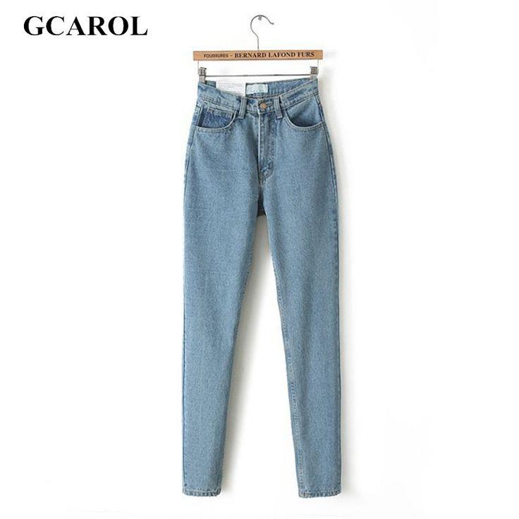 GCAROL Women High Waist Denim Jeans Vintage Slim Mom Style Pencil Jeans High Quality Denim Pants Plus Size 29 For 4 Season