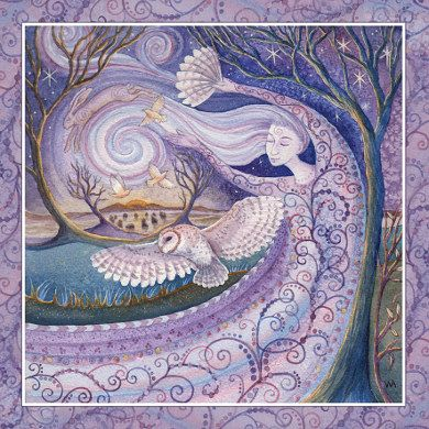 Arianrhod - Winter solstice goddess by Wendy Andrew. Winter Solstice - circa 21st December Mother of Air, Goddess of the limitless skies. She is Owl Woman and will carry you through the long dark nights of winter dreaming. The sun is reborn at winter solstice and days gradually lengthen. A time of hope and anticipation.
