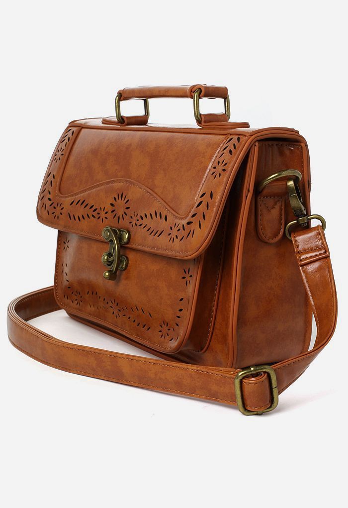 Brown Vintage Satchel Bag with Cut Out Detail