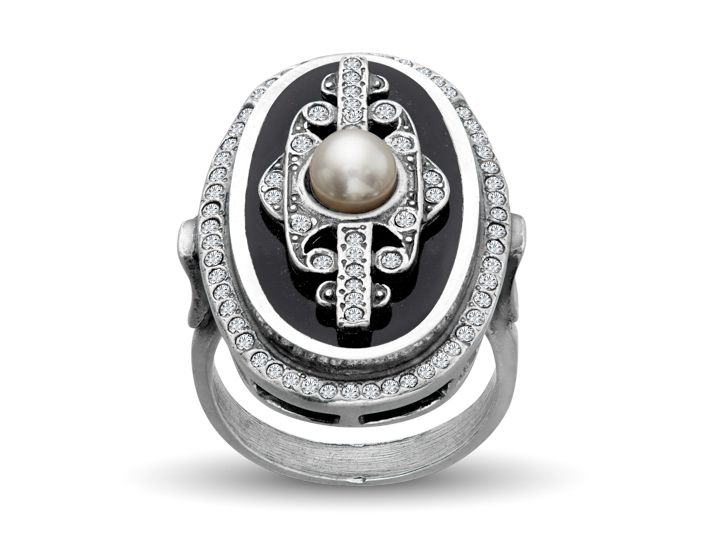 Van Kempen takes Art Deco elegance to new heights with a daring, impressive design. A brilliant freshwater pearl is set against a backdrop of glossy midnight-hued enamel and stunning Swarovski crystals in this alluring ring fashioned from sterling silver. Ring face measures 1 1/16 by 11/16 inches.<BR>Ring is a size 6 1/2.