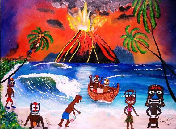 """Tiki Art Paintin 18"""" x 24"""" Tiki bar art painting, tiki decor,  polynesian art,  tiki art,  beach wall decor,  tiki party, tiki art on canvas"""