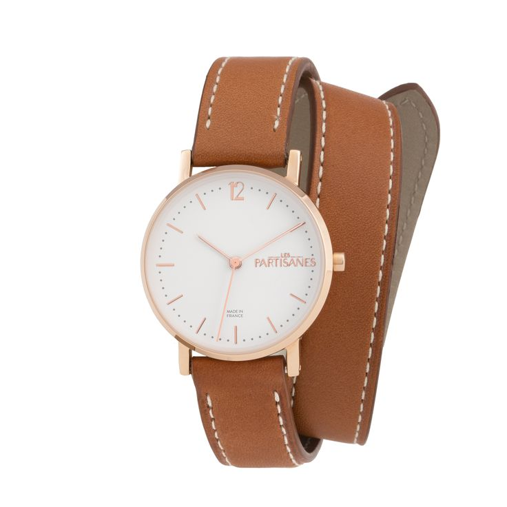 L'Audacieuse Or Rose Marron Caramel Double Tour  #lespartisanes #womens # watches #madeinfrance #watchaddict #jewellery #love #summer #paris #spring #toutespartisanes