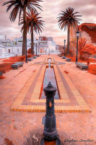 Water feature near the Town Hall in Tarifa, Spain