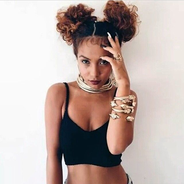 Pigtail Buns Baby Hair Curly Natural Hair Pinterest