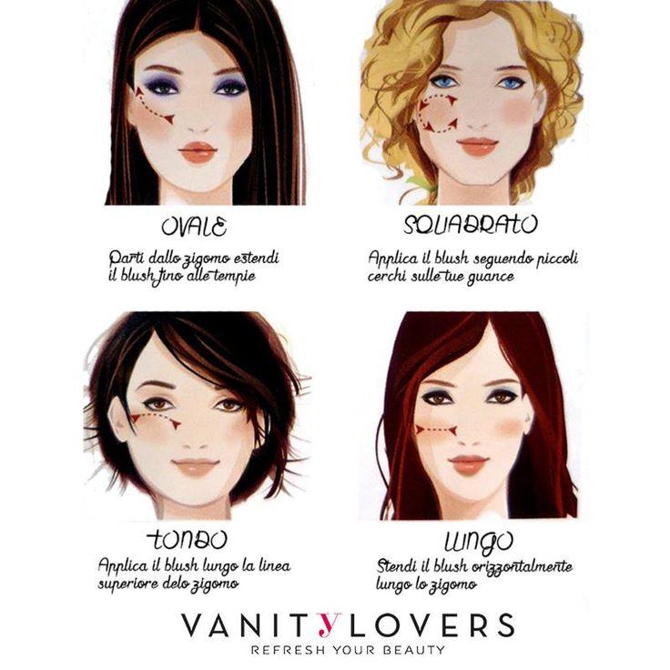Ecco come applicare il blush in base alla forma del viso! http://www.vanitylovers.com/prodotti-make-up-viso/blush.html?utm_source=pinterest.com&utm_medium=post&utm_content=vanity-blush&utm_campaign=pin-mitrucco