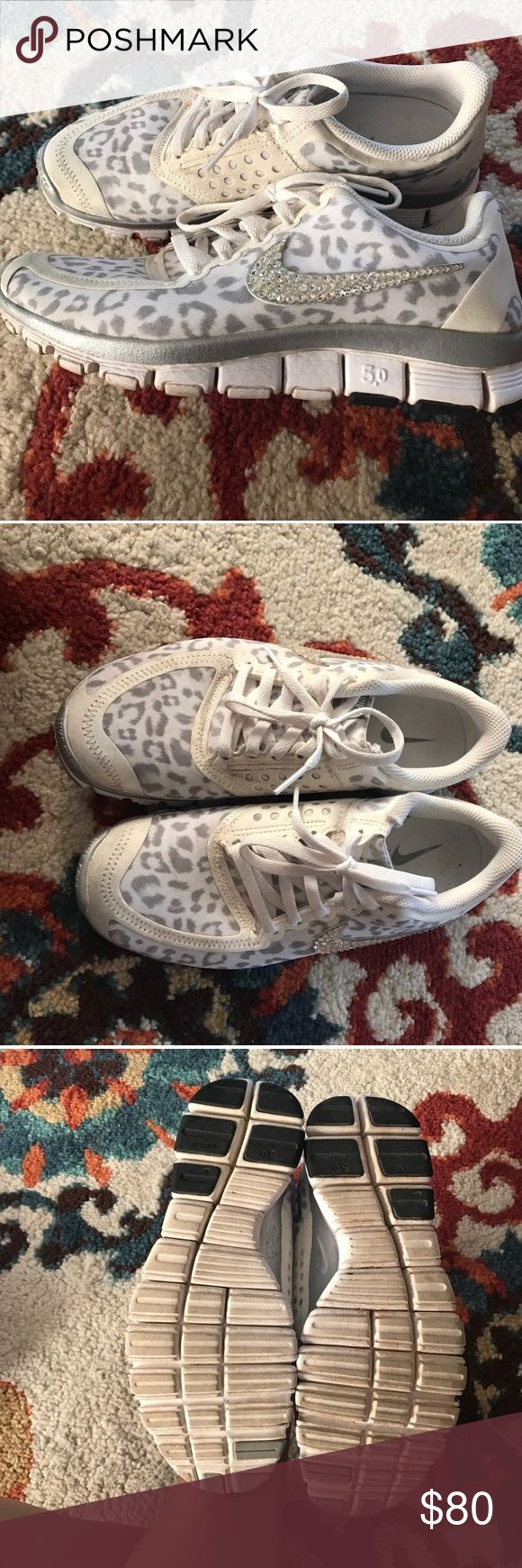 •Nike• Swarovski Crystal Cheetah Shoes Extremely rare!!! These are the most beautiful nikes you'll ever find! Only worn a handful of times. Few spots as shown. Nike Shoes