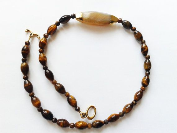 Tiger eye necklace brown necklace stone necklace by tizianat