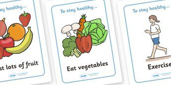 Health and Hygiene Display Posters - Good health, hygiene, behaviour management, eat fruit, walk to school, vegetables, exercise, brush teeth, wash hands, drink water